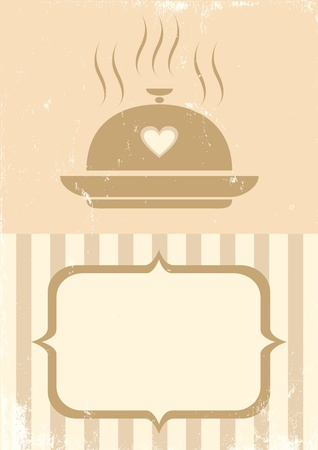 Retro illustration of a tray of food