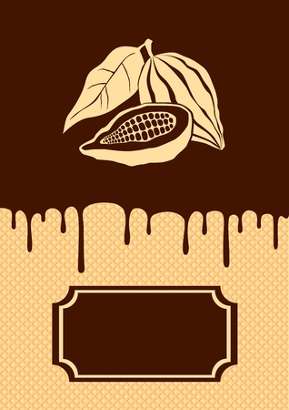 Illustratie van cacao en chocolade druipen op de wafer