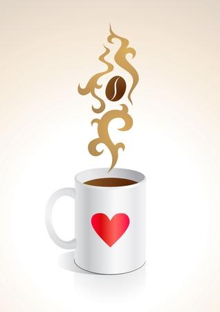 expresso: Illustration mug with hot coffee Illustration