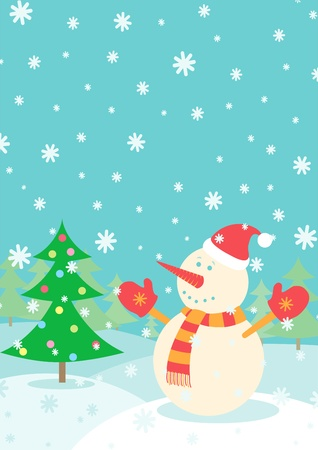 Illustration of a Snowman and Christmas tree Vector