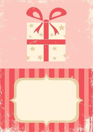 Illustratie van de doos met een gift in retro stijl