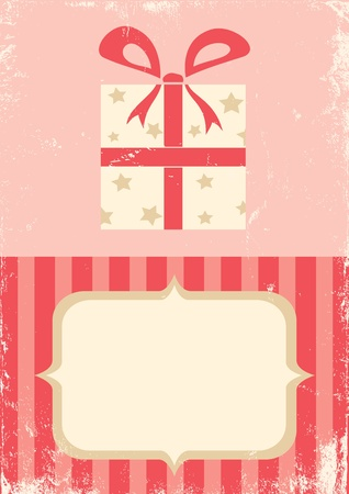 Illustration of the box with a gift in retro style