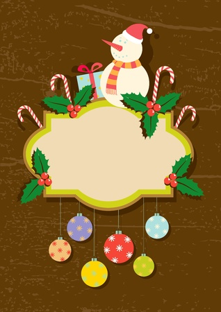 Retro illustration of Christmas symbols on a wooden background Stock Vector - 11242516