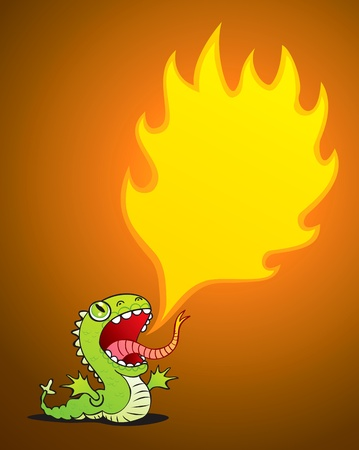 Illustration of a small dragon spewing flames Illustration