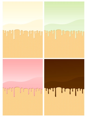 sundae: Illustrations of wafers coated with different creams  Illustration