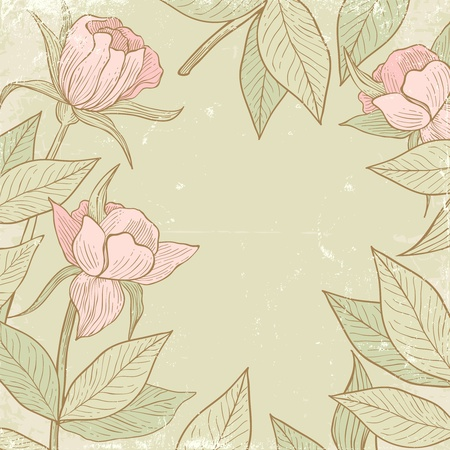 Illustration of flowers in vintage style Vector