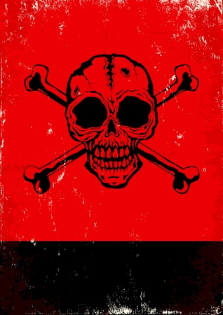 pirates flag design: Red and black poster with the skull