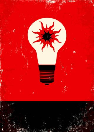 Red and black poster with the bulb and the sun Stock Vector - 11397016