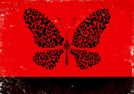 Red and black poster with black butterflies Vector
