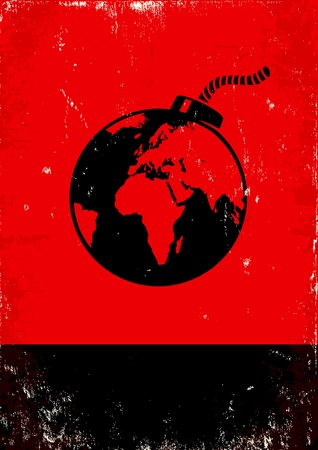 Red and black poster with bomb and the globe Stock Vector - 11397019