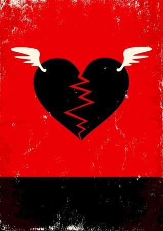 Cartel rojo y negro con el corazón roto Ilustración de vector