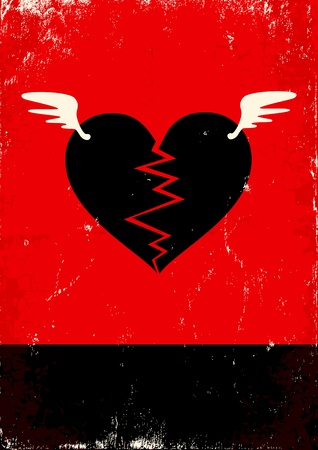 heartache: Red and black poster with broken heart