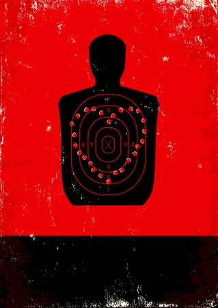 bullet hole: Red and black poster with shooting target