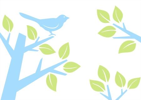 Illustration of a bird on a tree branch