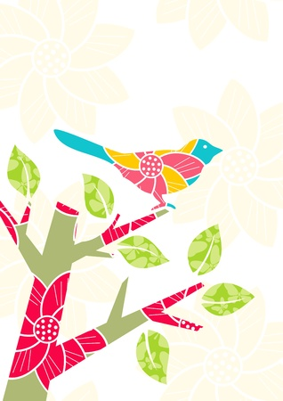 Illustration of a bird on a tree branch Vector