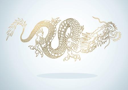 tatuaje dragon: Ilustraci�n del drag�n de oro en el estilo asi�tico Vectores
