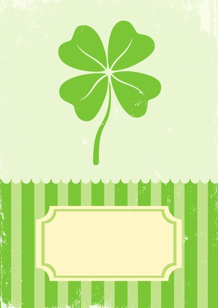 northern ireland: Illustration of clover with four leaves in vintage style