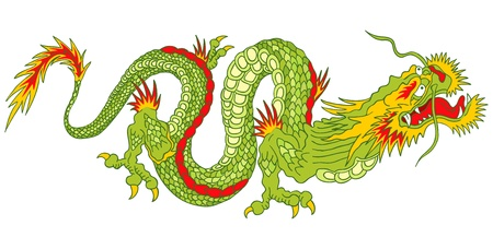 Ilustración del dragón verde en el estilo asiático