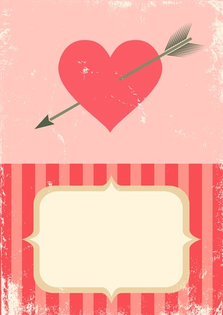 Retro illustration of the heart with an arrow Vector