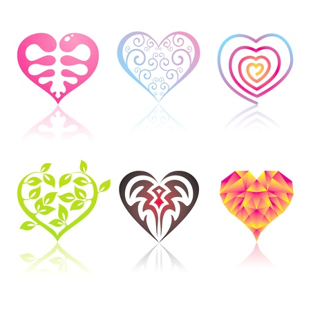 Set of icons in the hearts of different musical styles Vector