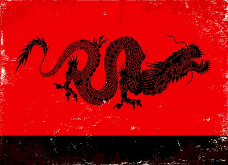 pattern monster: Illustration of black dragon in the Asian style