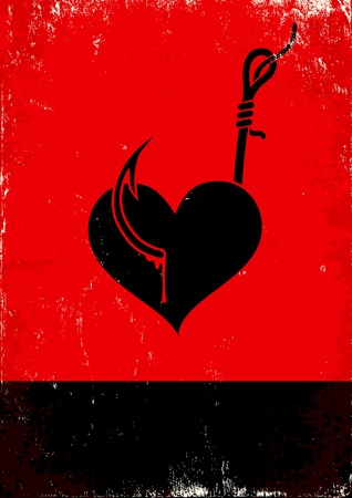Red and black poster with Heart on a hook Vector