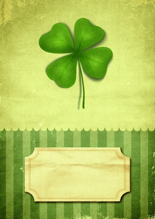 irish banners: Illustration of clover with four leaves in vintage style