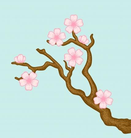 Ilustración de una rama de árbol en flor de cerezo en un estilo retro