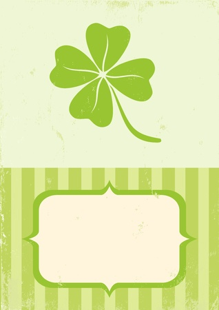 Illustration of clover with four leaves in vintage style Stock Vector - 12491706