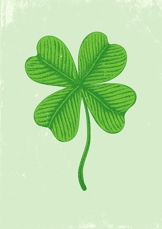 Illustration of clover with four leaves in vintage style