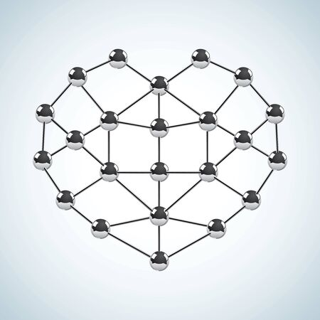 Chemical structure in the form of heart Vector