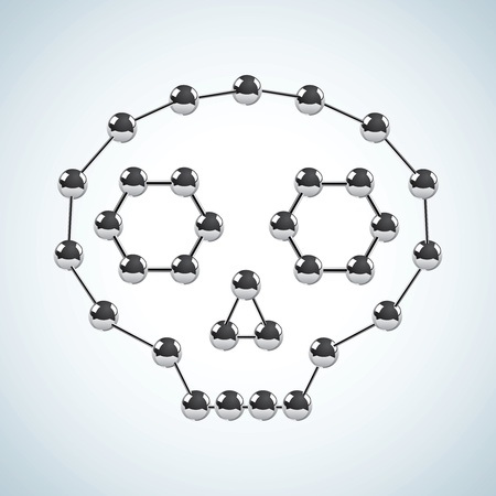 Illustration of the chemical structure in the shape of the skull Vector