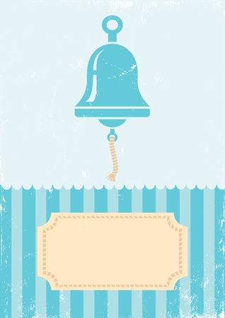 Retro illustration of bell on turquoise background