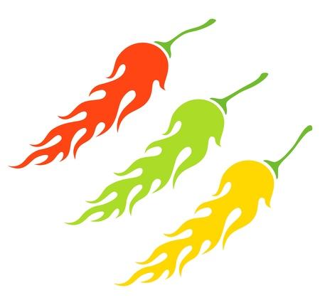 pungent: Illustrazione dei tre tipi di peperoni sotto forma di una fiamma Vettoriali