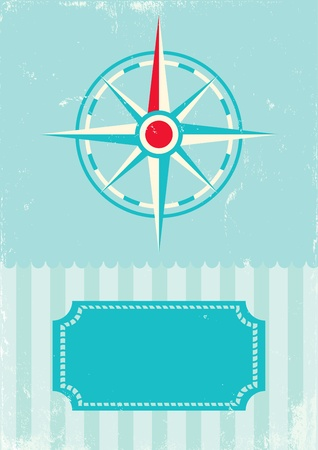 Retro illustration ofwind rose compass on turquoise background Vector