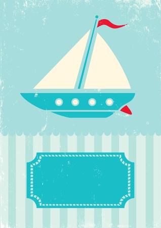 青緑色の背景上に船のレトロなイラスト  イラスト・ベクター素材
