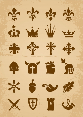 Heraldic symbols in the Romanesque style in the old paper Vector
