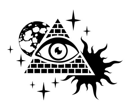 ピラミッドの目、月、太陽および星と  イラスト・ベクター素材
