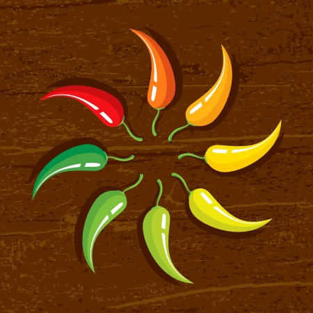 Illustration of chili peppers on the wooden background