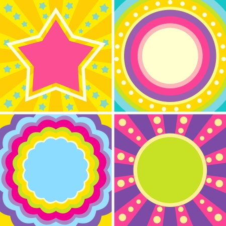 Set of colorful posters in the music style of disco Vettoriali