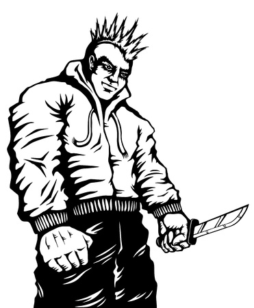 Illustration of punk with a knife in his hand Vector