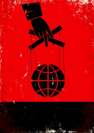 puppet master: Red and black poster with hand and globe