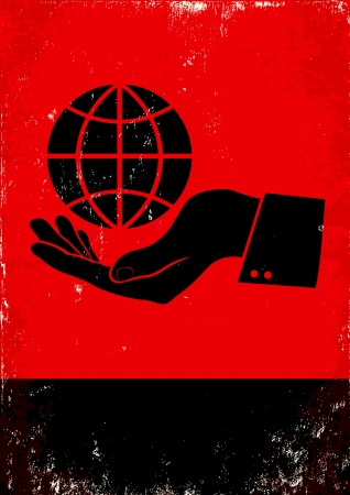 hand holding paper: Red and black poster with hand and globe