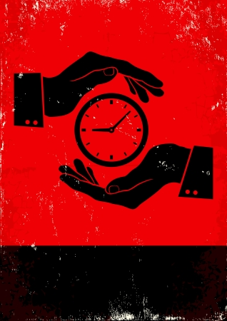 old time: Red and black poster with hands and clock Illustration