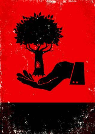 ocas: Cartel rojo y negro con la mano y el árbol