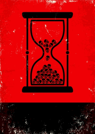 Red and black poster with hourglass and skulls Vector