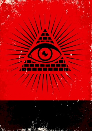 Red and black poster with pyramid and eye Illustration