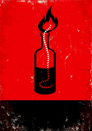 Red and black poster with Molotov cocktail
