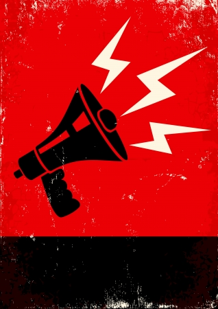 bullhorn: Red and black poster with megaphone and lightning