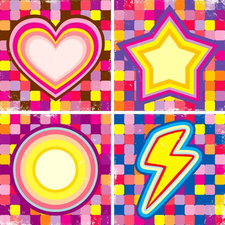 Set of colorful posters in the music style Vector